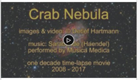 This is a wonderful 1 decade times laps movie by DetlefHartmann of Astrobin. Hats off to the commitment and dedication to this level of work. Please check out the video. And if you don't know about the Crab Nebula in Taurus also called M1 or NGC1052 is, It has a great recorded history dating back to 1054AD. I would recommend checking it out.